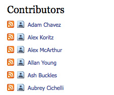 Example of an author list in a WordPress Widget featuring name, feed, and social media links