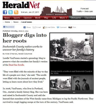 Article in Everett Herald on Family History blog by Lorelle VanFossen
