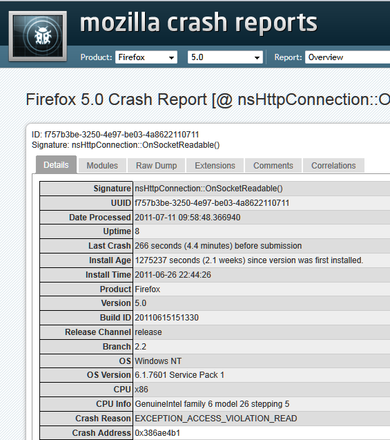 firefox crash report details