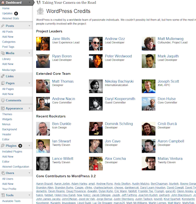 WordPress 3.2 new Credit Panel showing off who contributed to development