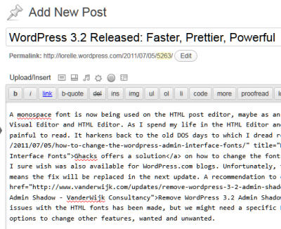 WordPress 3.2 Monospaced font for the HTML Editor