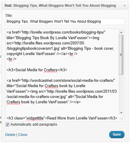 text widget code example of links and headings