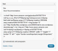 Example of WordPress text widget using Amazon affiliate link and image