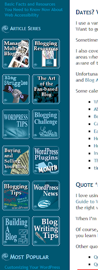 Example of WordPress Text Widget used to create linked images for article series