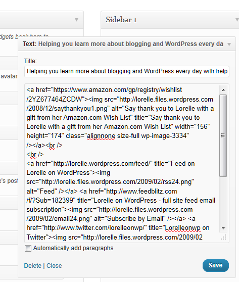 text widgets example of links and images code