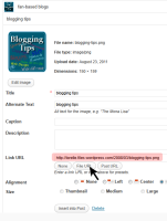Example of where to find the link to the image from the WordPress Media Library