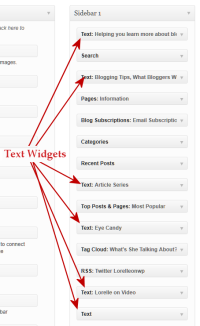 Example of text widgets on the WordPress Widgets panel