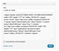 Example of adding Viddler video code to a WordPress text widget