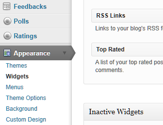 the WordPress Administration Panels Widget menu