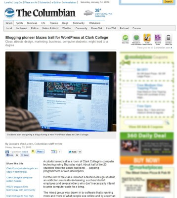 newspaper article columbian blogging pioneer blazes trail for wordpress at clark college