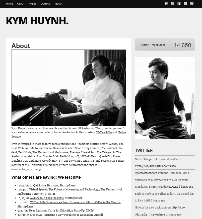 The About Page of Kym Huynh with his bio and testimonials.