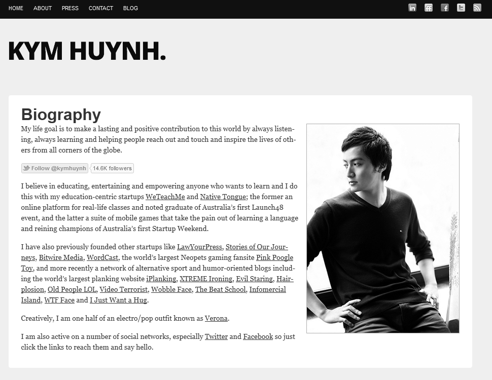 Kym Huynh front page of his site features a welcome introduction and bio