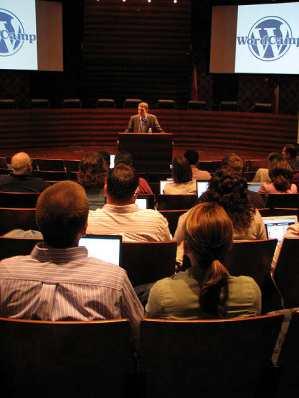 Matt Mullenweg gives a state of the world presentation