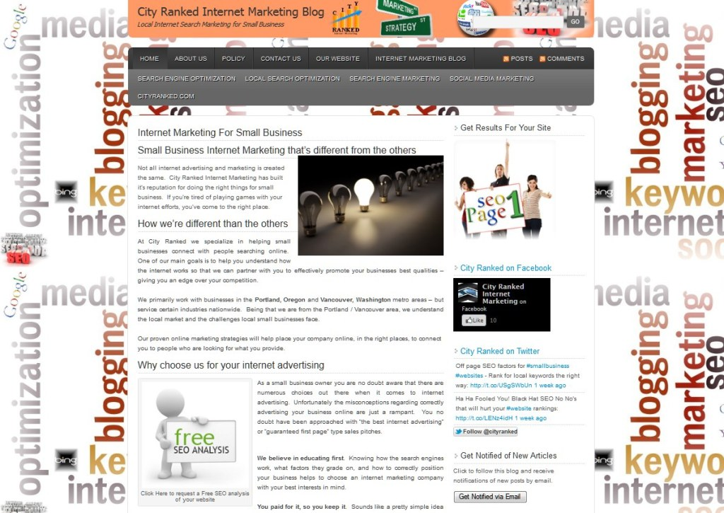 city ranked internet marketing blog duane b front pageview