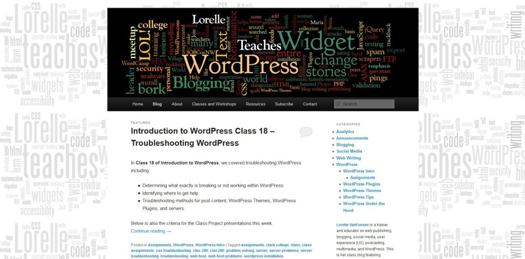 Front blog page of Lorelle Teaches WordPress and Blogging