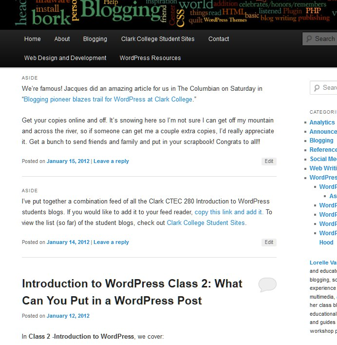 Example of post formats in the Twenty Eleven WordPress Theme