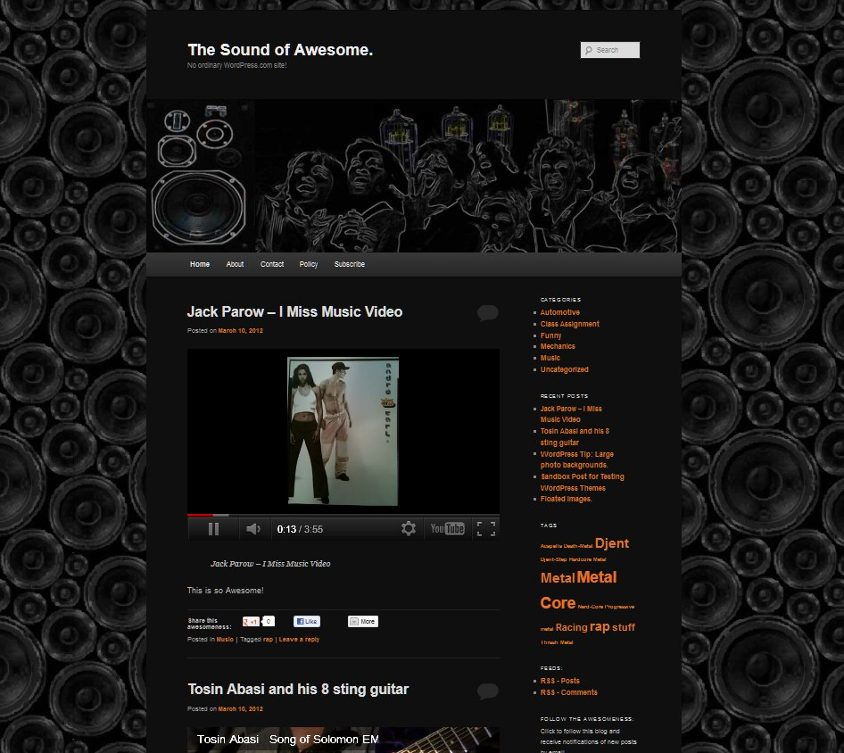 The sound of awesome rueben rova front pageview with 2011 Theme.