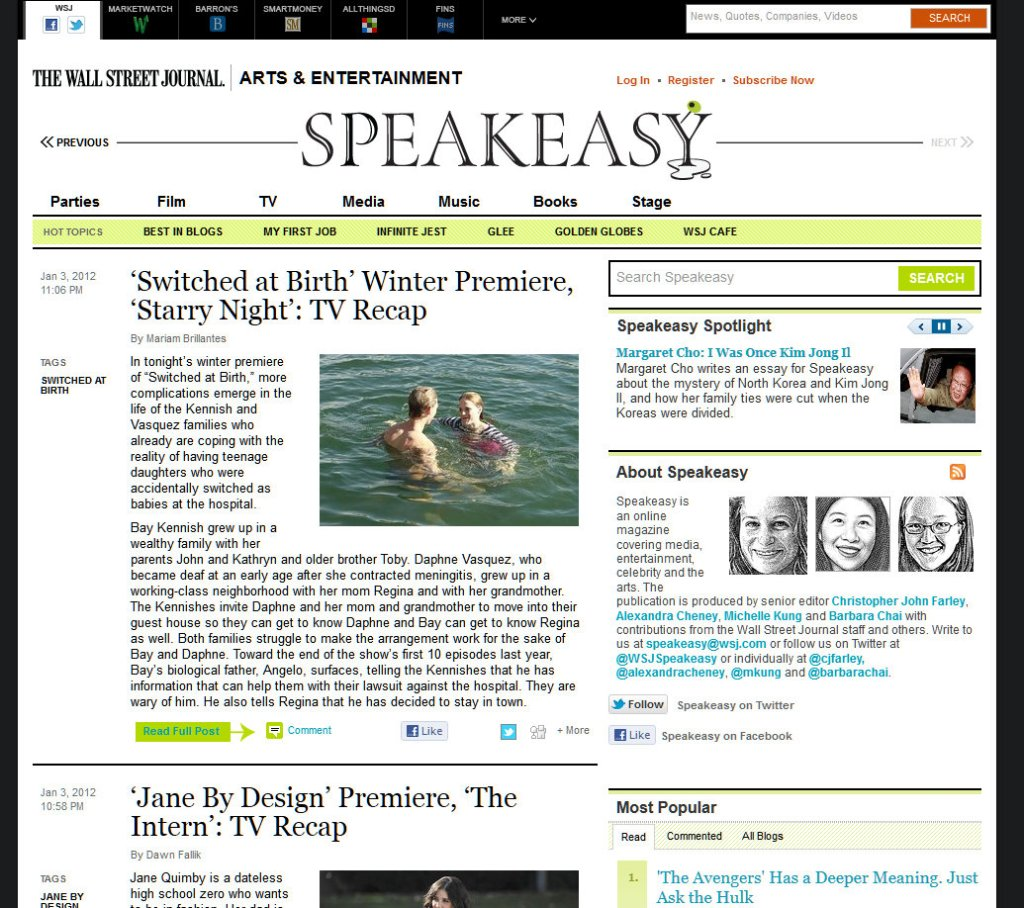 wall street journal speakeasy