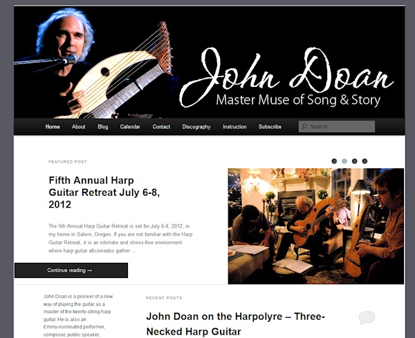 Example of Twenty Eleven WordPress Theme slider on John Doan Harp Guitar site