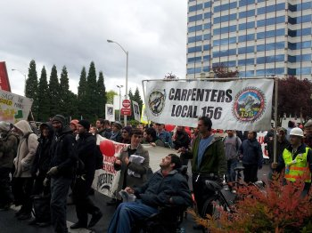 may day pdx protest parade carpenters union by Lorelle VanFossen