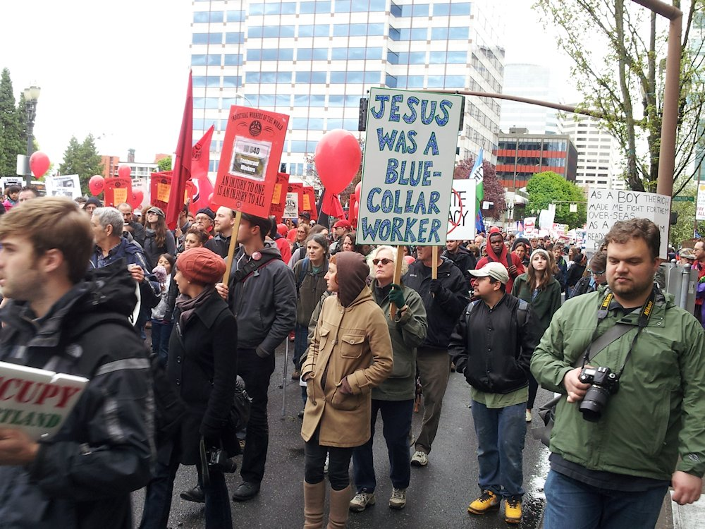 may day pdx protest parade jesus was blue collar - lorelle