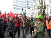 may day pdx protest parade soilder sign - lorelle