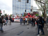 may day pdx protest parade start - lorelle
