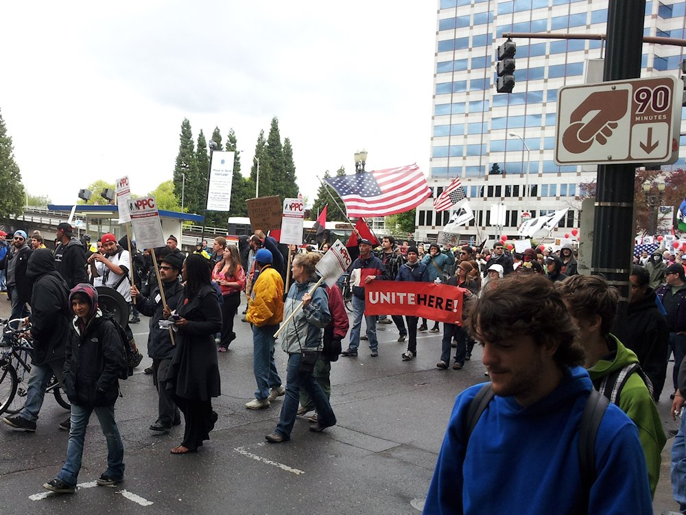 may day pdx protest parade unite here - lorelle