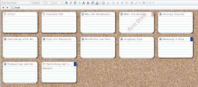 Example of a simple ebook outline with the cork board feature of Scrivener featuring virtual index cards on a cork board background.