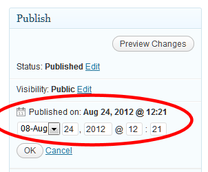 WordPress future post or timestamp feature on posts to control when a post publishes.