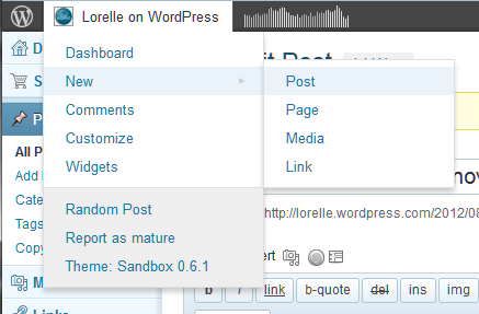 WordPress login through the Admin Bar by hovering over your blog title.