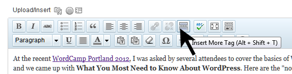 The WordPress MORE button on the Visual Editor sets the excerpt length for a post.