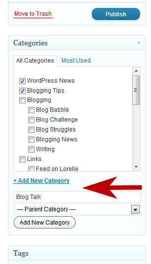 Example of how to add post category to WordPress from within the Post Panel.