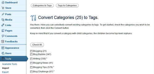 The Convert Categories and Tags to Categories and Tags panel in WordPress.