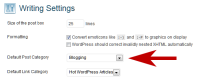 Example of how to set the default post category in WordPress Settings.