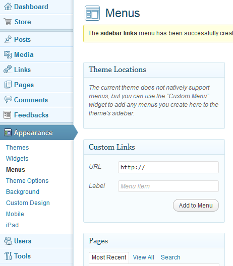 how to create link menu in wordpress