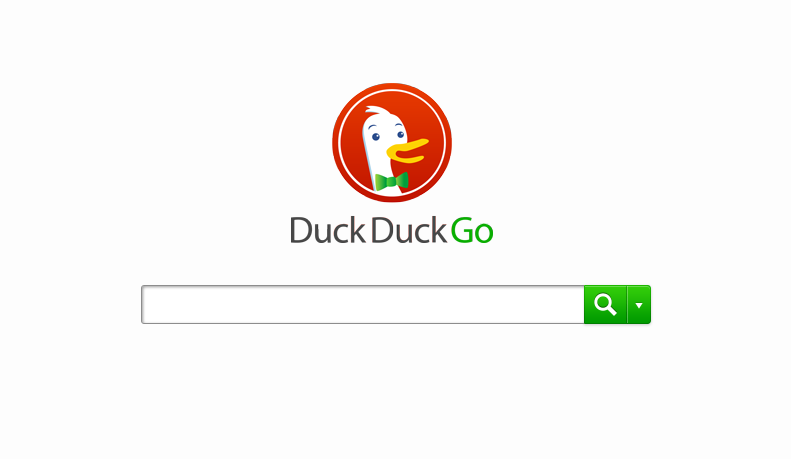 DuckDuckGo search engine front page with search form.