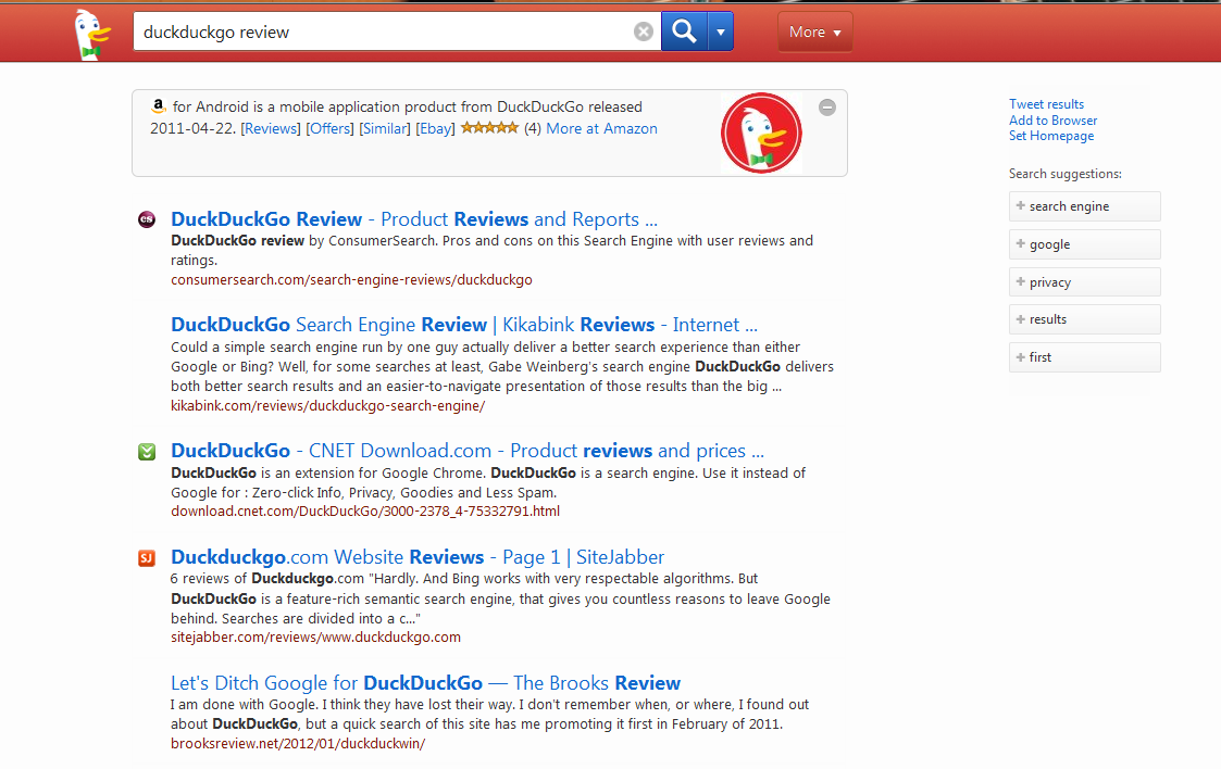duckduckgo search results page example of the results lorelle on wordpress