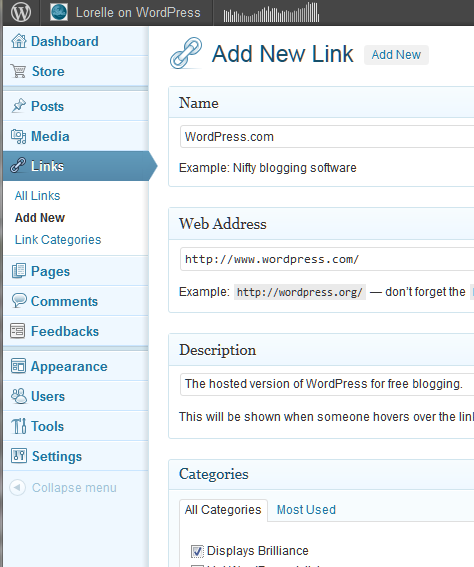 Example of Links Manager in WordPress - Add New Link.