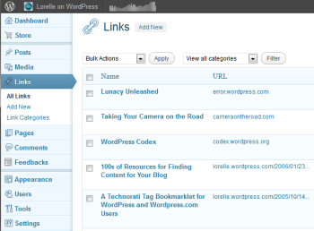Example of Links Manager in WordPress - Show All Lists panel.