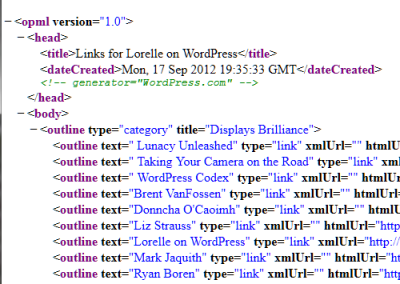Example of the wp-links-opml.php export list of the Links Manager blogroll in WordPress.