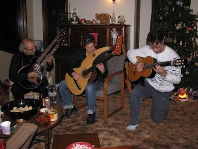 john doan - karla fisher - brent vanfossen - guitar trio at vanfossen holiday party.