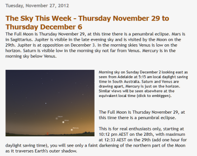 Astroblogger's site and article on the planets aligning in the night sky in Australia.