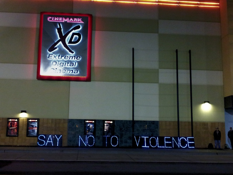 Clackamas Mall Memorial and Vigil - holiday lights spell out Say No to Violence - photo by Lorelle VanFossen.