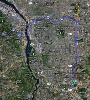 Google map directions to Clackamas Town Center in Portland, Oregon.