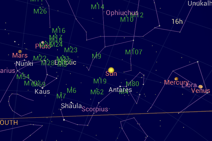 Google Sky Map screen capture of the planets aligning.