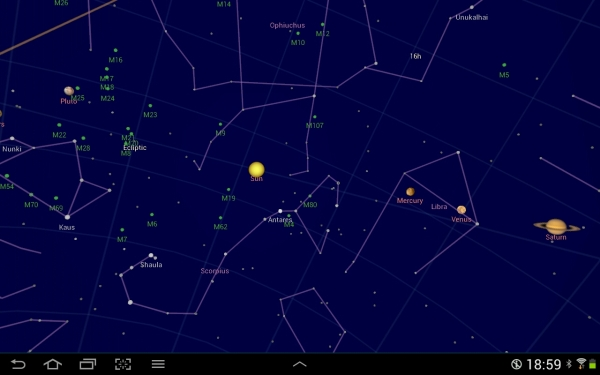 Google Sky map screenshot.