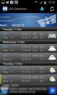 ISS Detector - screen shot tracking International Space Station in the sky.