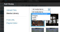 Example of the new WordPress Media Manager with a drop down sort to filter images by type and those with this post.