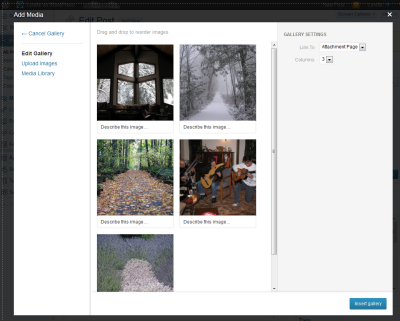 Example of the gallery editor for WordPress Media Manager with several images to sort and arrange.